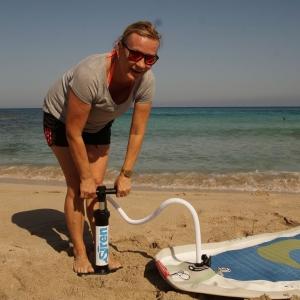 Reisepumpe für SUP Boards - klein und handlich
